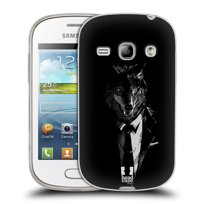 Silikonové pouzdro na mobil Samsung Galaxy Fame HEAD CASE VLK V KVÁDRU (Silikonový kryt či obal na mobilní telefon Samsung Galaxy Fame GT-S6810)