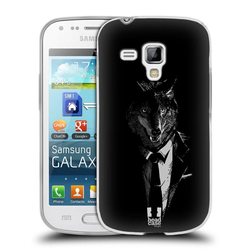 Silikonové pouzdro na mobil Samsung Galaxy S Duos HEAD CASE VLK V KVÁDRU (Silikonový kryt či obal na mobilní telefon Samsung Galaxy S Duos GT-S7562)
