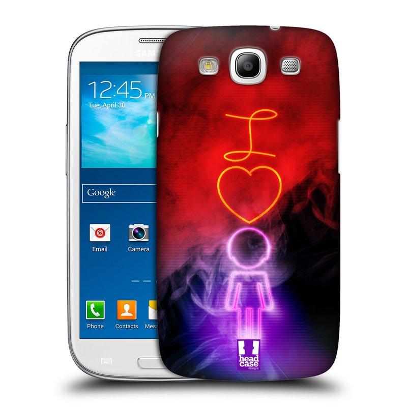 Plastové pouzdro na mobil Samsung Galaxy S3 Neo HEAD CASE NEON I LOVE HER (Kryt či obal na mobilní telefon Samsung Galaxy S3 Neo GT-i9301i)