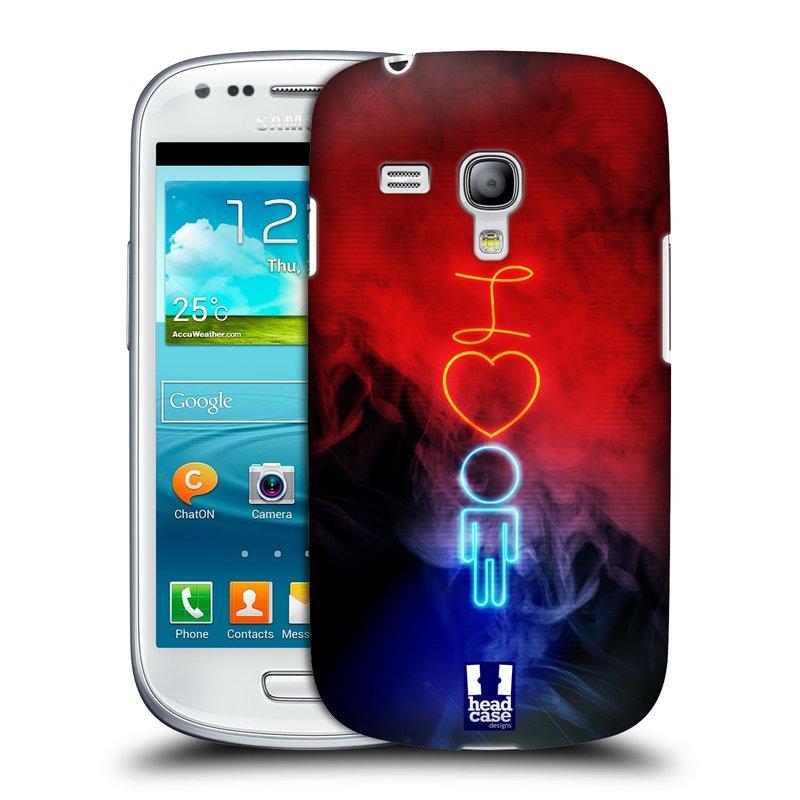Plastové pouzdro na mobil Samsung Galaxy S III Mini HEAD CASE NEON I LOVE HIM (Kryt či obal na mobilní telefon Samsung Galaxy S III Mini GT-i8190)