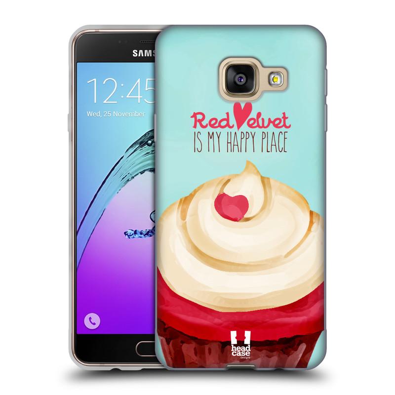 Silikonové pouzdro na mobil Samsung Galaxy A3 (2016) HEAD CASE CUPCAKE RED VELVET (Silikonový kryt či obal na mobilní telefon Samsung Galaxy A3 (2016) SM-A310F)