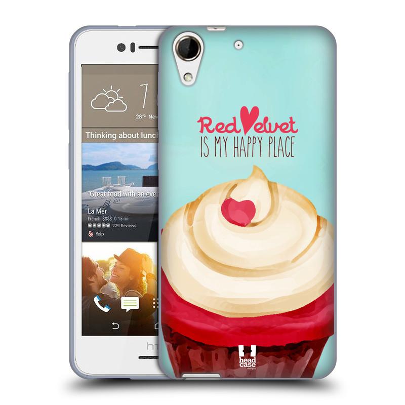Silikonové pouzdro na mobil HTC Desire 728G Dual SIM HEAD CASE CUPCAKE RED VELVET (Silikonový kryt či obal na mobilní telefon HTC Desire 728 G Dual SIM)