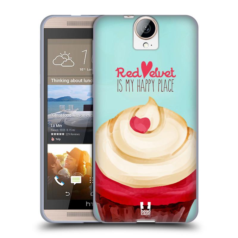 Silikonové pouzdro na mobil HTC One E9+(Plus) HEAD CASE CUPCAKE RED VELVET (Silikonový kryt či obal na mobilní telefon HTC One E9+)