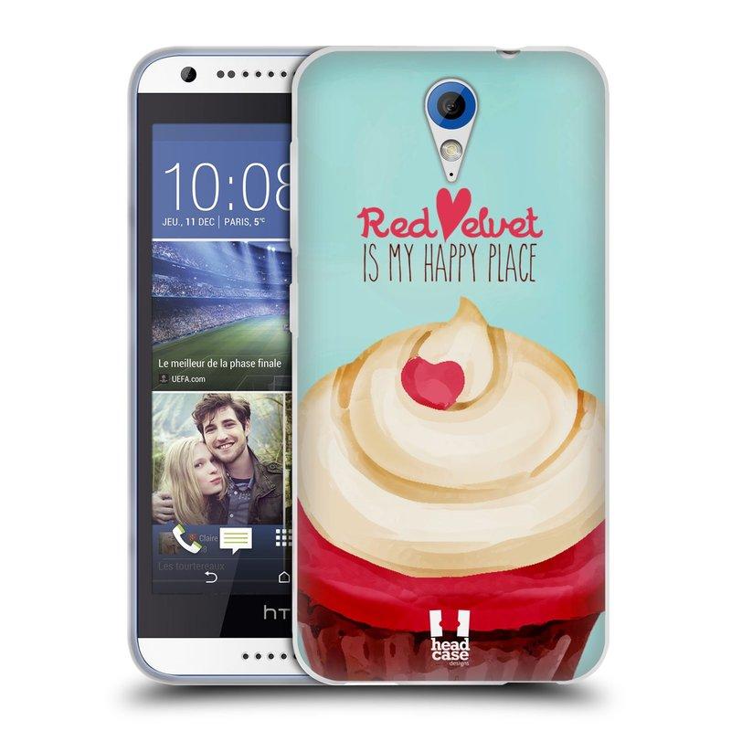 Silikonové pouzdro na mobil HTC Desire 620 HEAD CASE CUPCAKE RED VELVET (Silikonový kryt či obal na mobilní telefon HTC Desire 620)