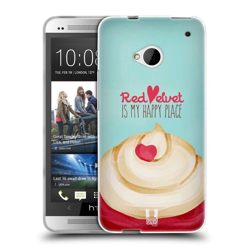 Silikonové pouzdro na mobil HTC ONE M7 HEAD CASE CUPCAKE RED VELVET (Silikonový kryt či obal na mobilní telefon HTC ONE M7)
