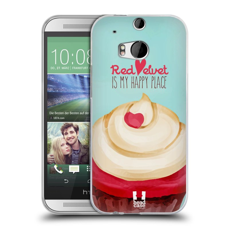 Silikonové pouzdro na mobil HTC ONE M8 HEAD CASE CUPCAKE RED VELVET (Silikonový kryt či obal na mobilní telefon HTC ONE M8)