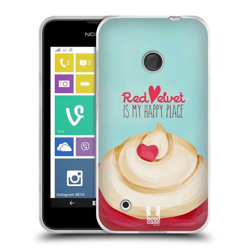 Silikonové pouzdro na mobil Nokia Lumia 530 HEAD CASE CUPCAKE RED VELVET (Silikonový kryt či obal na mobilní telefon Nokia Lumia 530)