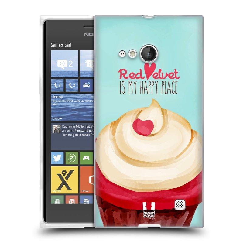 Silikonové pouzdro na mobil Nokia Lumia 735 HEAD CASE CUPCAKE RED VELVET (Silikonový kryt či obal na mobilní telefon Nokia Lumia 735)