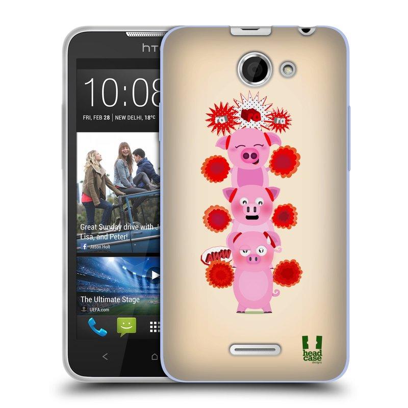 Silikonové pouzdro na mobil HTC Desire 516 HEAD CASE Prasátka ra ra ra (Silikonový kryt či obal na mobilní telefon HTC Desire 516 Dual SIM)