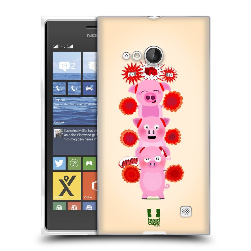 Silikonové pouzdro na mobil Nokia Lumia 730 Dual SIM HEAD CASE Prasátka ra ra ra (Silikonový kryt či obal na mobilní telefon Nokia Lumia 730 Dual SIM)