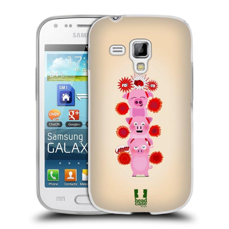 Silikonové pouzdro na mobil Samsung Galaxy S Duos HEAD CASE Prasátka ra ra ra (Silikonový kryt či obal na mobilní telefon Samsung Galaxy S Duos GT-S7562)