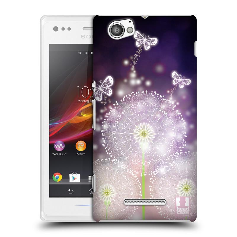 Plastové pouzdro na mobil Sony Xperia M C1905 HEAD CASE Pampelišky a Motýlci (Kryt či obal na mobilní telefon Sony Xperia M )
