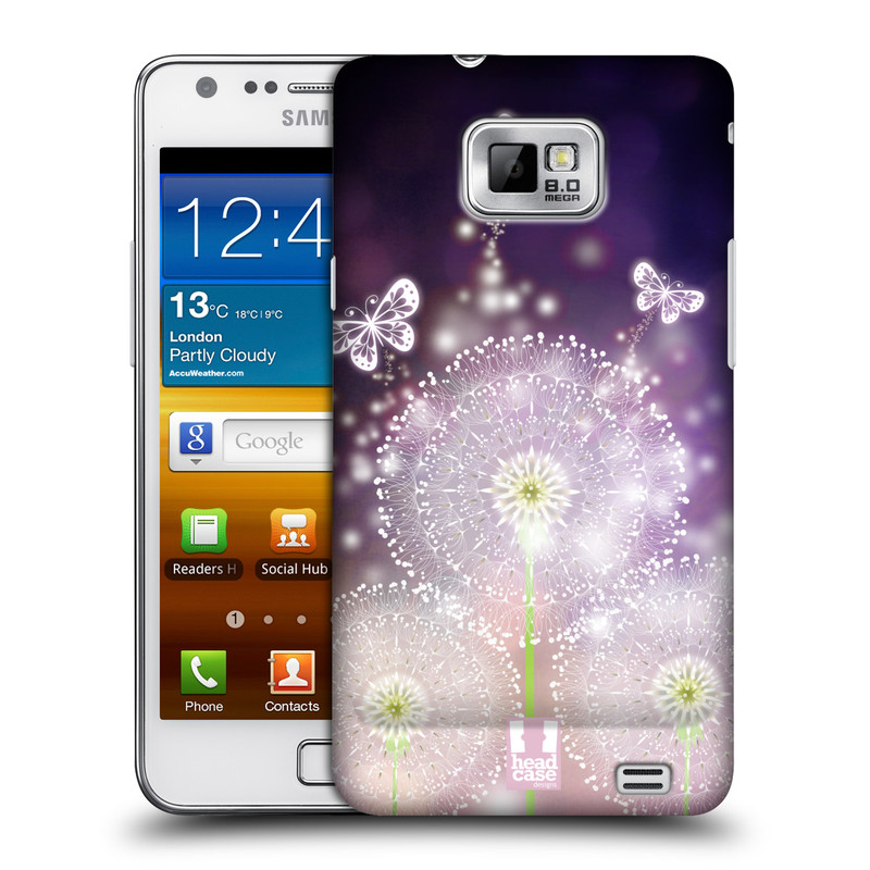 Plastové pouzdro na mobil Samsung Galaxy S II HEAD CASE Pampelišky a Motýlci (Kryt či obal na mobilní telefon Samsung Galaxy S II GT-i9100)