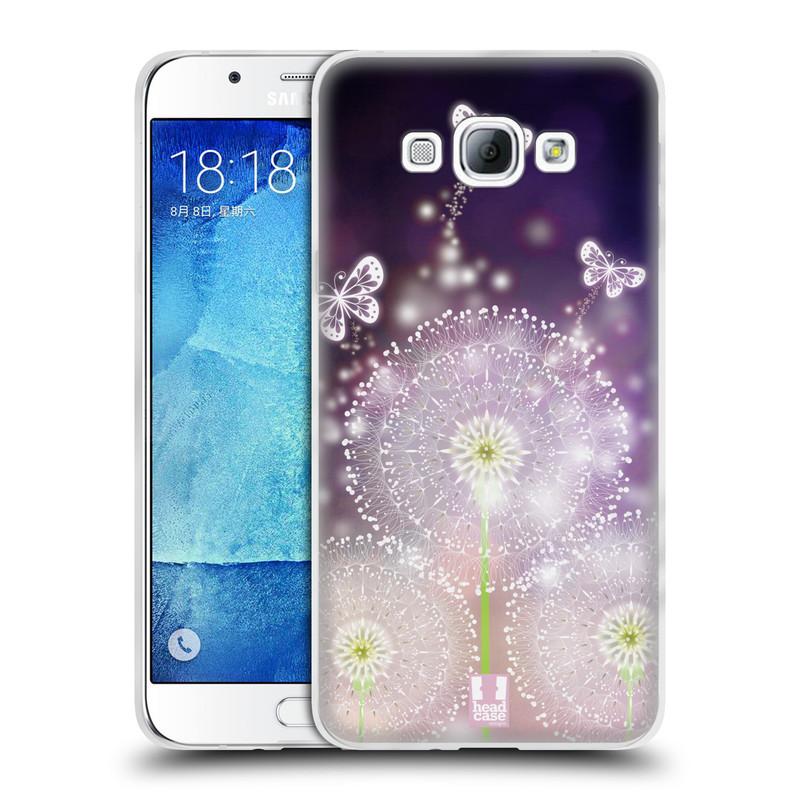 Silikonové pouzdro na mobil Samsung Galaxy A8 HEAD CASE Pampelišky a Motýlci (Silikonový kryt či obal na mobilní telefon Samsung Galaxy A8 SM-A800)