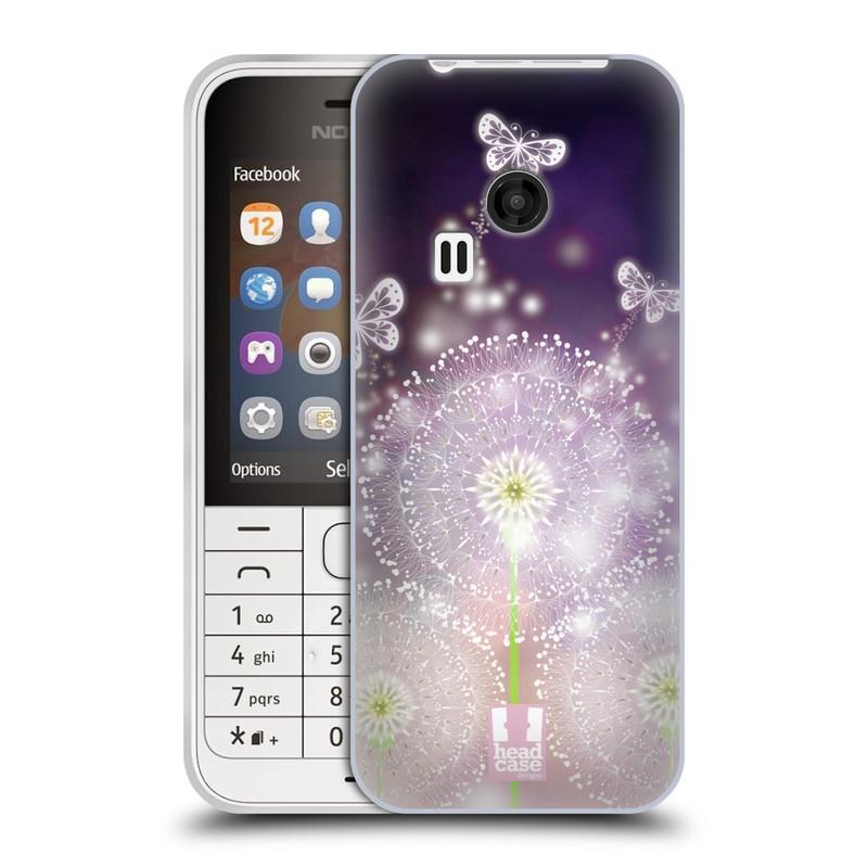 Silikonové pouzdro na mobil Nokia 220 HEAD CASE Pampelišky a Motýlci (Silikonový kryt či obal na mobilní telefon Nokia 220 a 220 Dual SIM)