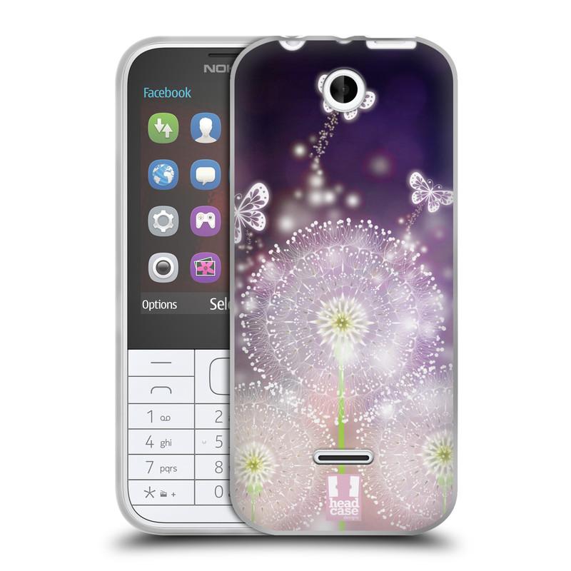 Silikonové pouzdro na mobil Nokia 225 HEAD CASE Pampelišky a Motýlci (Silikonový kryt či obal na mobilní telefon Nokia 225)