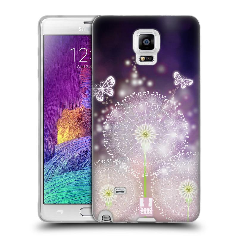 Silikonové pouzdro na mobil Samsung Galaxy Note 4 HEAD CASE Pampelišky a Motýlci (Silikonový kryt či obal na mobilní telefon Samsung Galaxy Note 4 SM-N910F)