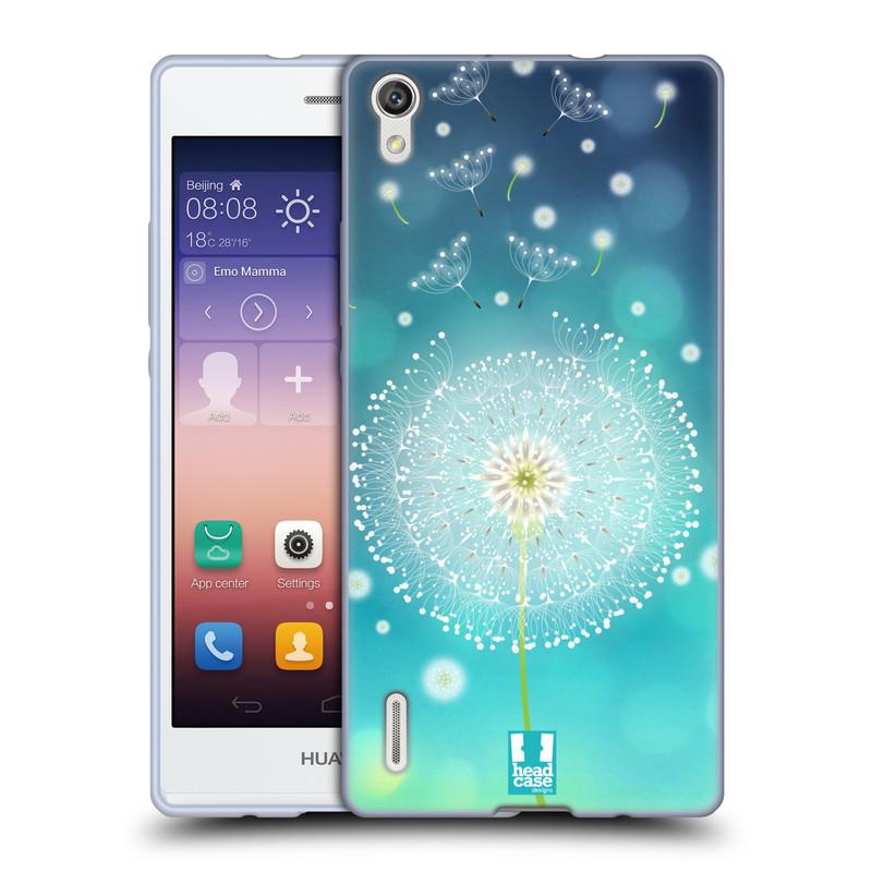 Silikonové pouzdro na mobil Huawei P7 HEAD CASE Rozlétaná pampeliška (Silikonový kryt či obal na mobilní telefon Huawei Ascend P7)