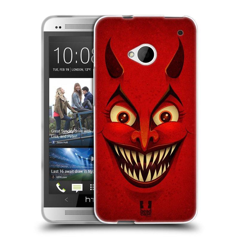 Silikonové pouzdro na mobil HTC ONE M7 HEAD CASE ČERT (Silikonový kryt či obal na mobilní telefon HTC ONE M7)