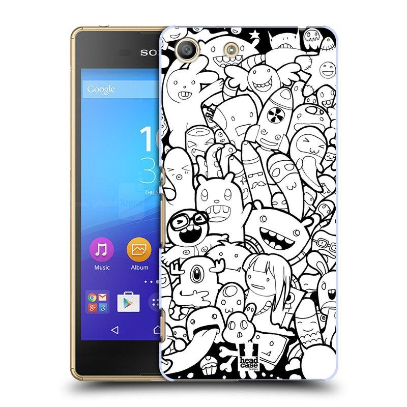 Plastové pouzdro na mobil Sony Xperia M5 HEAD CASE DOODLE PŘÍŠERKY A MIMÍCI (Kryt či obal na mobilní telefon Sony Xperia M5 Aqua)