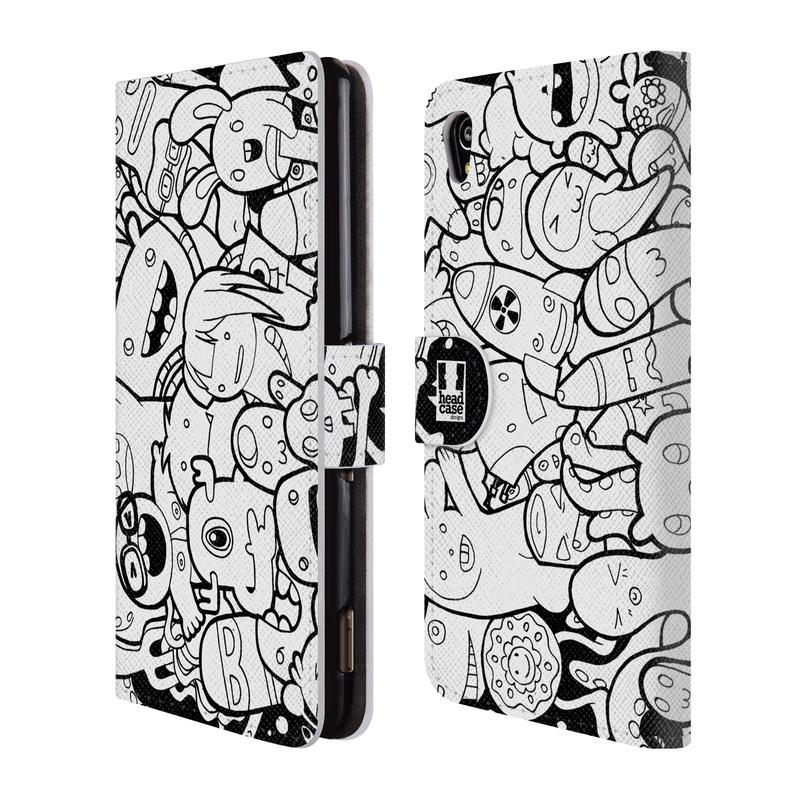 Flipové pouzdro na mobil Sony Xperia M4 Aqua HEAD CASE DOODLE PŘÍŠERKY A MIMÍCI (Flipový vyklápěcí kryt či obal z umělé kůže na mobilní telefon Sony Xperia M4 Aqua E2303)