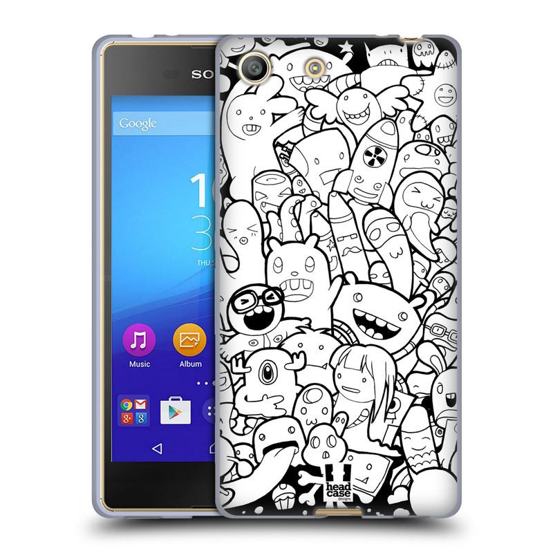 Silikonové pouzdro na mobil Sony Xperia M5 HEAD CASE DOODLE PŘÍŠERKY A MIMÍCI (Silikonový kryt či obal na mobilní telefon Sony Xperia M5 Dual SIM / Aqua)