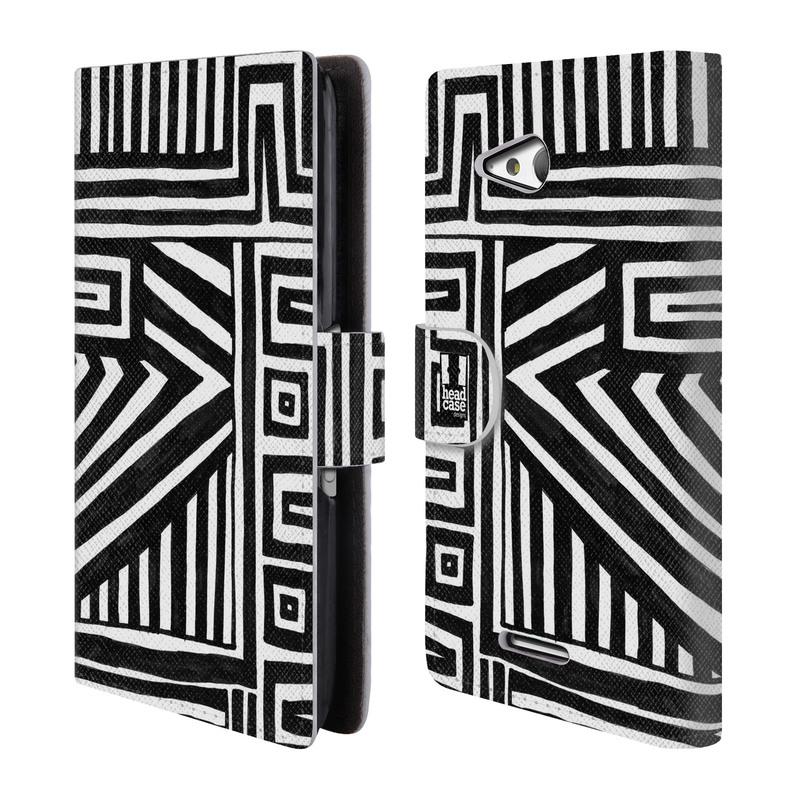 Flipové pouzdro na mobil Sony Xperia E4g HEAD CASE DOODLE GEOMETRIC (Flipový vyklápěcí kryt či obal z umělé kůže na mobilní telefon Sony Xperia E4G E2003)