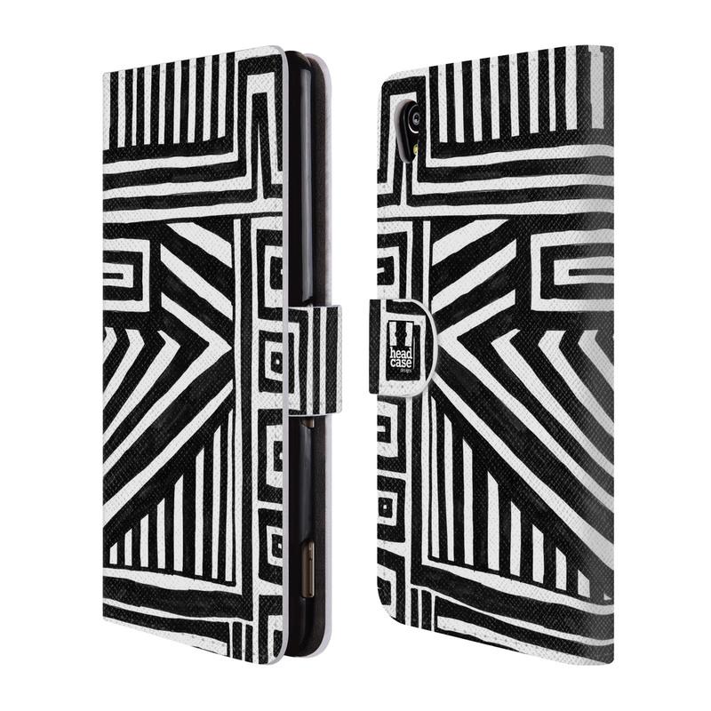 Flipové pouzdro na mobil Sony Xperia M4 Aqua HEAD CASE DOODLE GEOMETRIC (Flipový vyklápěcí kryt či obal z umělé kůže na mobilní telefon Sony Xperia M4 Aqua E2303)