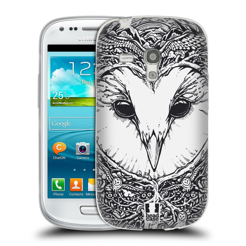 Silikonové pouzdro na mobil Samsung Galaxy S3 Mini VE HEAD CASE DOODLE TVÁŘ SOVA (Silikonový kryt či obal na mobilní telefon Samsung Galaxy S3 Mini VE GT-i8200)