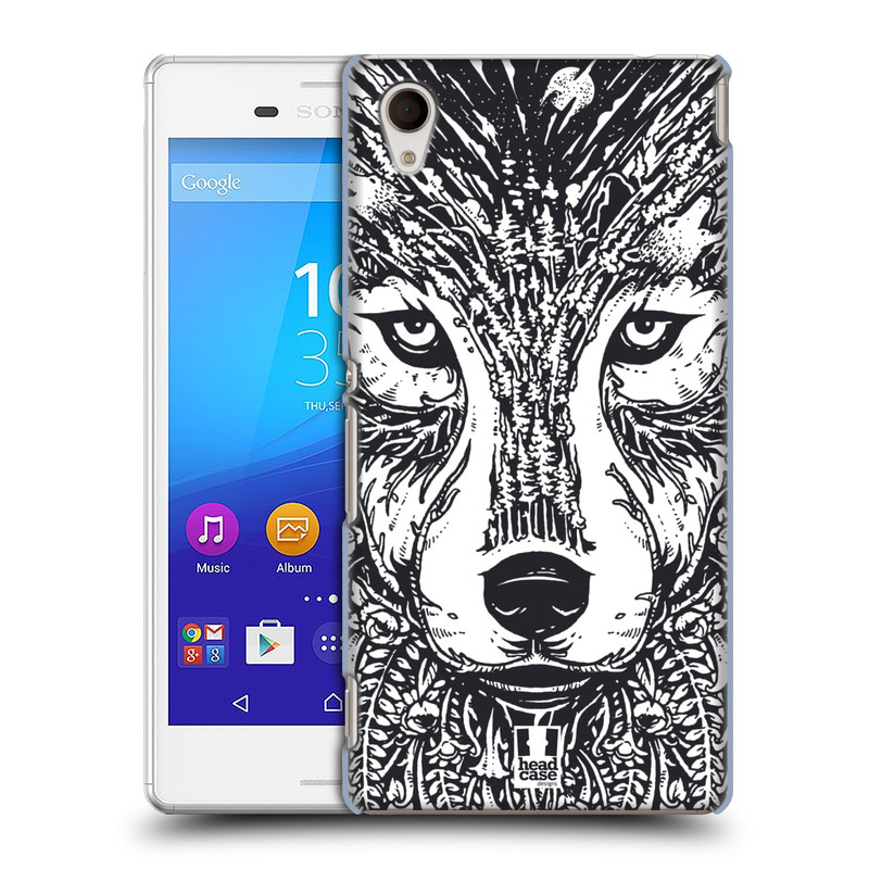 Plastové pouzdro na mobil Sony Xperia M4 Aqua E2303 HEAD CASE DOODLE TVÁŘ VLK (Kryt či obal na mobilní telefon Sony Xperia M4 Aqua a M4 Aqua Dual SIM)