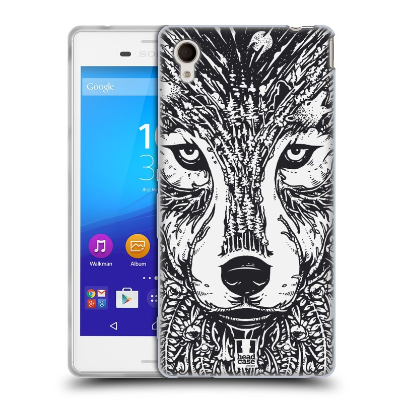 Silikonové pouzdro na mobil Sony Xperia M4 Aqua E2303 HEAD CASE DOODLE TVÁŘ VLK (Silikonový kryt či obal na mobilní telefon Sony Xperia M4 Aqua a M4 Aqua Dual SIM)