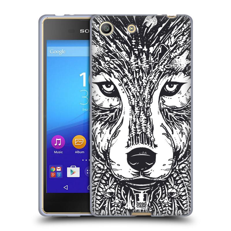 Silikonové pouzdro na mobil Sony Xperia M5 HEAD CASE DOODLE TVÁŘ VLK (Silikonový kryt či obal na mobilní telefon Sony Xperia M5 Dual SIM / Aqua)