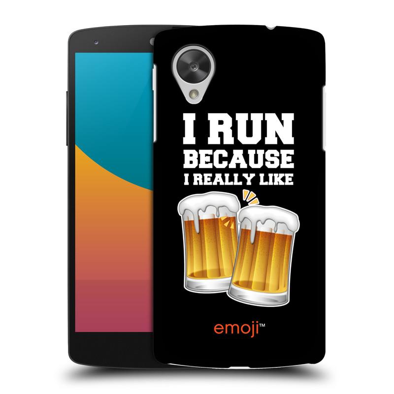 Plastové pouzdro na mobil LG Nexus 5 HEAD CASE EMOJI - Běhám na pivko (Kryt či obal s oficiálním motivem EMOJI na mobilní telefon LG Google Nexus 5 D821)