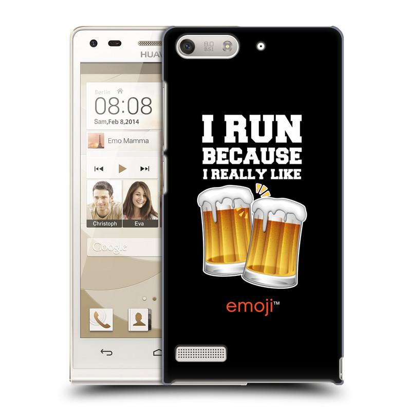 Plastové pouzdro na mobil Huawei Ascend G6 HEAD CASE EMOJI - Běhám na pivko (Kryt či obal s oficiálním motivem EMOJI na mobilní telefon Huawei Ascend G6 bez LTE)