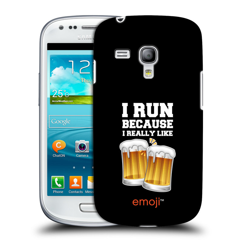 Silikonové pouzdro na mobil Samsung Galaxy S III Mini VE HEAD CASE EMOJI - Běhám na pivko (Kryt či obal s oficiálním motivem EMOJI na mobilní telefon Samsung Galaxy S3 Mini VE GT-i8200)