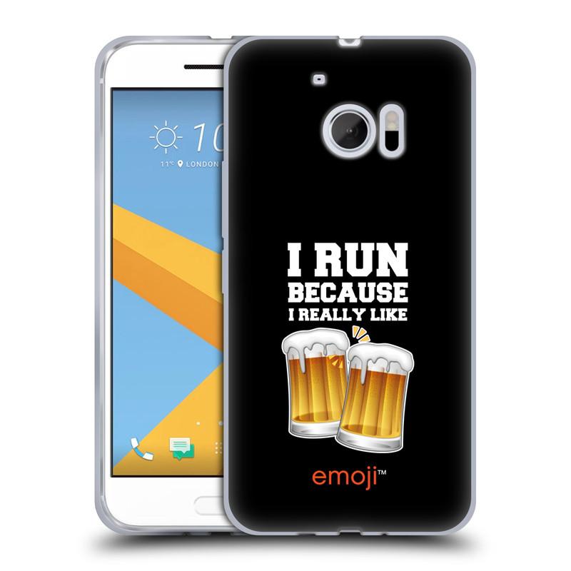 Silikonové pouzdro na mobil HTC 10 HEAD CASE EMOJI - Běhám na pivko (Silikonový kryt či obal s oficiálním motivem EMOJI na mobilní telefon HTC 10 (HTC One M10))