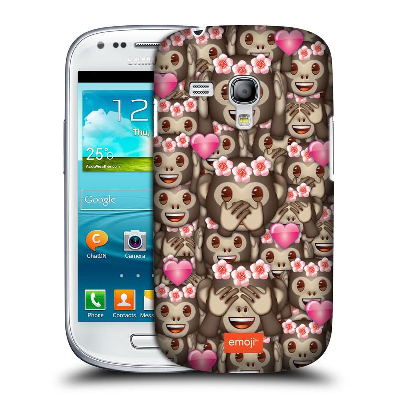 Silikonové pouzdro na mobil Samsung Galaxy S III Mini VE HEAD CASE EMOJI - Opičky, srdíčka a kytičky (Kryt či obal s oficiálním motivem EMOJI na mobilní telefon Samsung Galaxy S3 Mini VE GT-i8200)