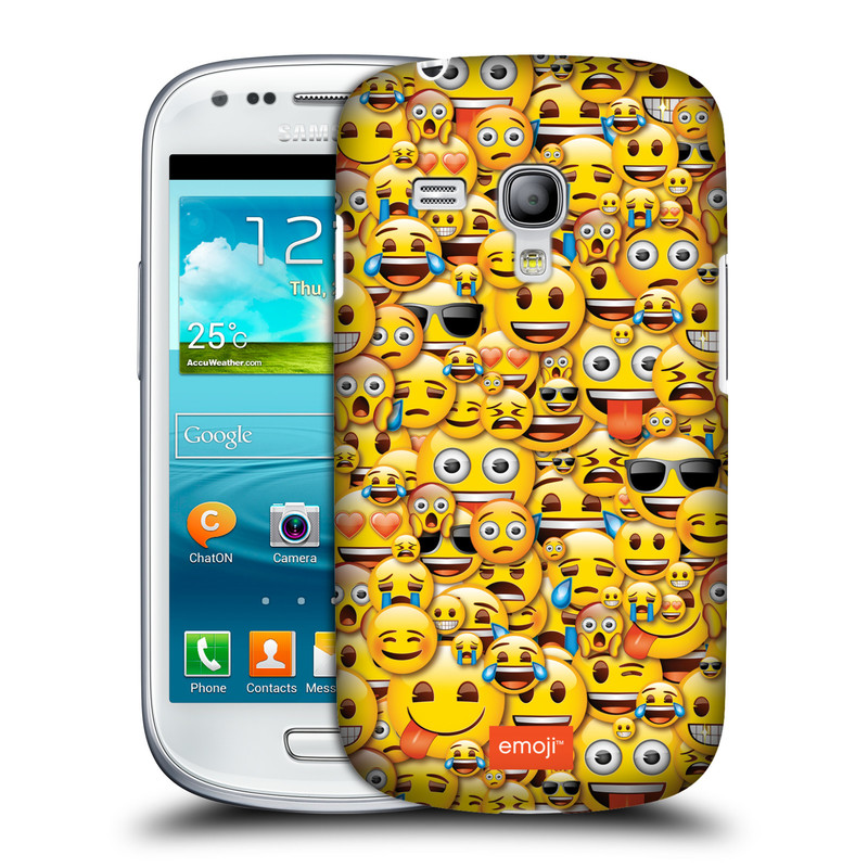 Silikonové pouzdro na mobil Samsung Galaxy S III Mini VE HEAD CASE EMOJI - Mnoho malých smajlíků (Kryt či obal s oficiálním motivem EMOJI na mobilní telefon Samsung Galaxy S3 Mini VE GT-i8200)