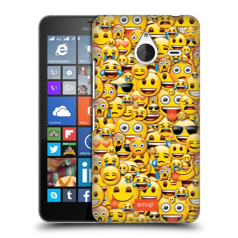 Plastové pouzdro na mobil Microsoft Lumia 640 XL HEAD CASE EMOJI - Mnoho malých smajlíků (Kryt či obal s oficiálním motivem EMOJI na mobilní telefon Microsoft Lumia 640 XL)