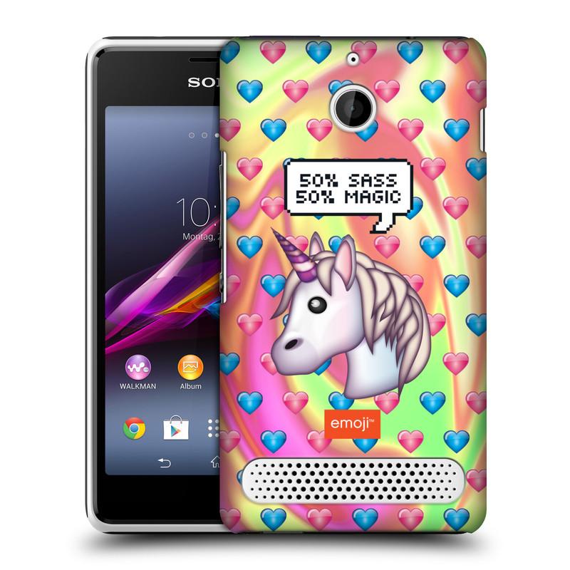 Plastové pouzdro na mobil Sony Xperia E1 D2005 HEAD CASE EMOJI - Jednorožec (Kryt či obal s oficiálním motivem EMOJI na mobilní telefon Sony Xperia E1 a E1 Dual)