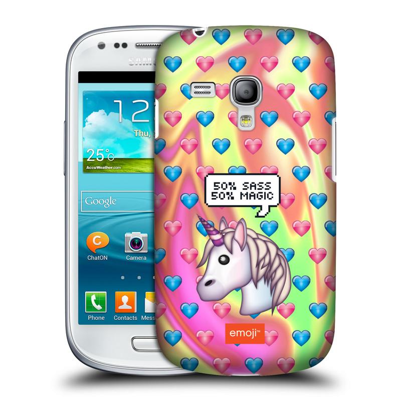 Silikonové pouzdro na mobil Samsung Galaxy S III Mini VE HEAD CASE EMOJI - Jednorožec (Kryt či obal s oficiálním motivem EMOJI na mobilní telefon Samsung Galaxy S3 Mini VE GT-i8200)