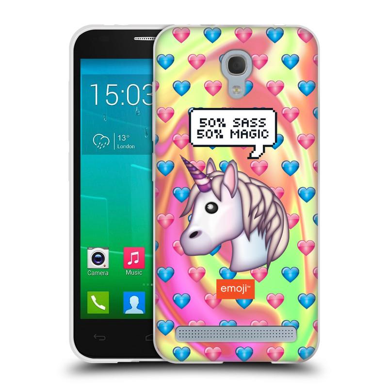 Silikonové pouzdro na mobil Alcatel One Touch Idol 2 Mini S 6036Y HEAD CASE EMOJI - Jednorožec (Silikonový kryt či obal s oficiálním motivem EMOJI na mobilní telefon Alcatel Idol 2 Mini S OT-6036Y)