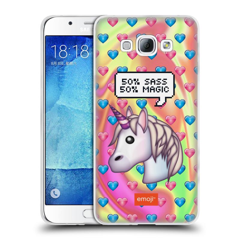 Silikonové pouzdro na mobil Samsung Galaxy A8 HEAD CASE EMOJI - Jednorožec (Silikonový kryt či obal s oficiálním motivem EMOJI na mobilní telefon Samsung Galaxy A8 SM-A800)