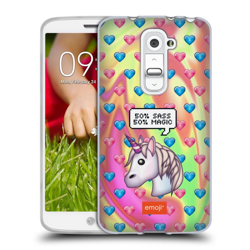 Silikonové pouzdro na mobil LG G2 Mini HEAD CASE EMOJI - Jednorožec (Silikonový kryt či obal s oficiálním motivem EMOJI na mobilní telefon LG G2 Mini D620)