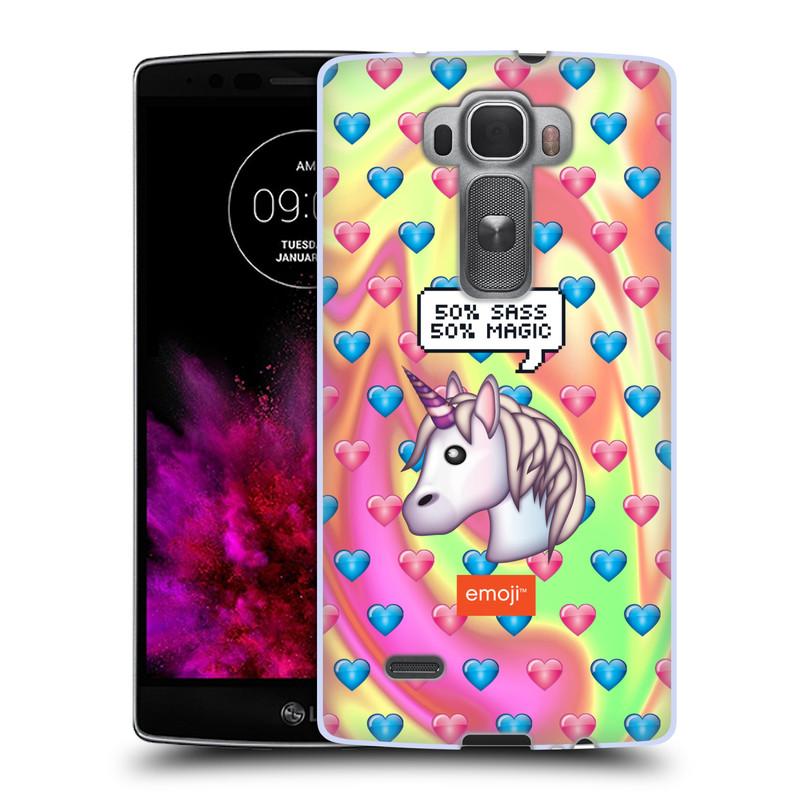 Silikonové pouzdro na mobil LG G Flex 2 HEAD CASE EMOJI - Jednorožec (Silikonový kryt či obal s oficiálním motivem EMOJI na mobilní telefon LG G Flex 2 H955)