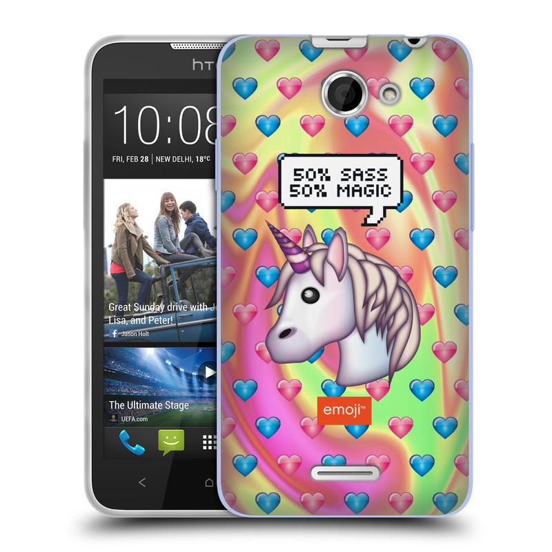 Silikonové pouzdro na mobil HTC Desire 516 HEAD CASE EMOJI - Jednorožec (Silikonový kryt či obal s oficiálním motivem EMOJI na mobilní telefon HTC Desire 516 Dual SIM)