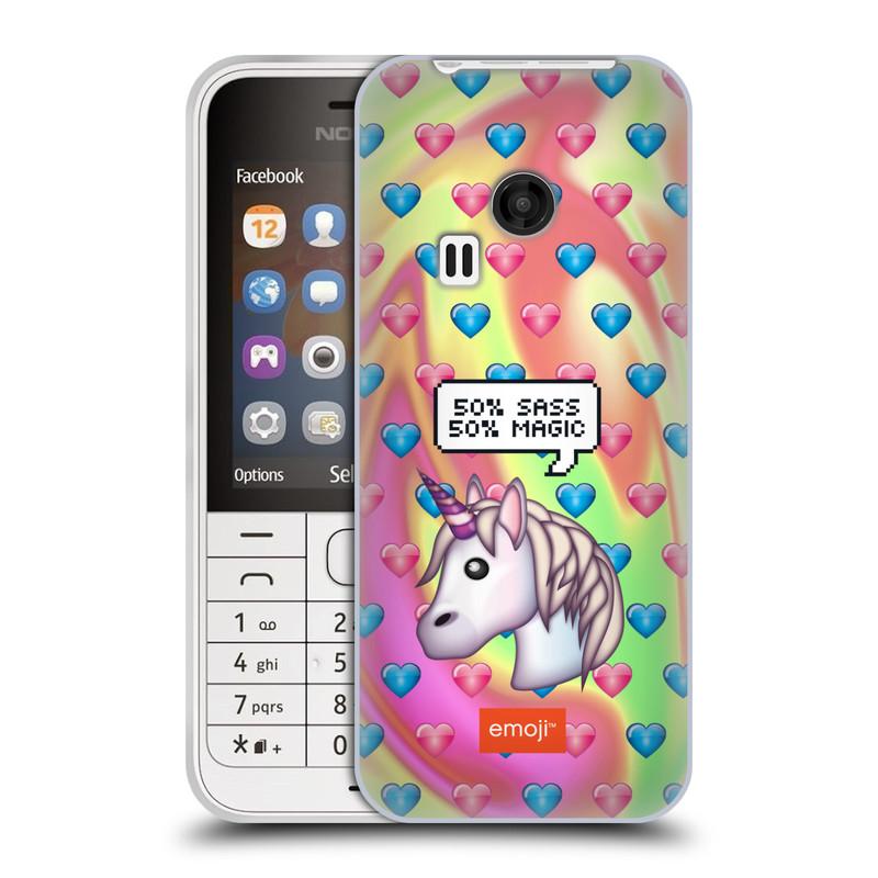 Silikonové pouzdro na mobil Nokia 220 HEAD CASE EMOJI - Jednorožec (Silikonový kryt či obal s oficiálním motivem EMOJI na mobilní telefon Nokia 220 a 220 Dual SIM)