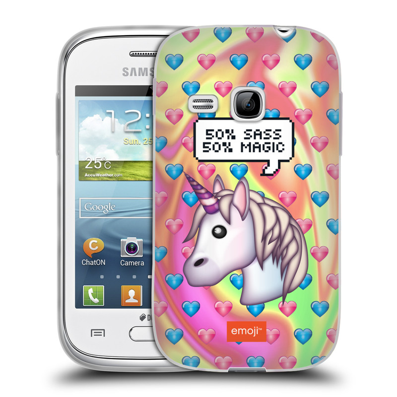 Silikonové pouzdro na mobil Samsung Galaxy Young HEAD CASE EMOJI - Jednorožec (Silikonový kryt či obal s oficiálním motivem EMOJI na mobilní telefon Samsung Galaxy Young GT-S6310)