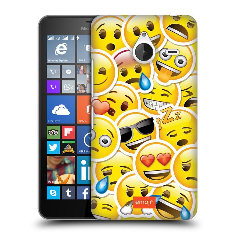 Plastové pouzdro na mobil Microsoft Lumia 640 XL HEAD CASE EMOJI - Velcí smajlíci ZZ (Kryt či obal s oficiálním motivem EMOJI na mobilní telefon Microsoft Lumia 640 XL)