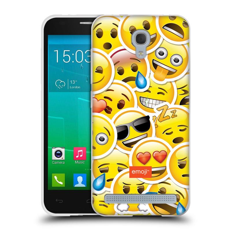 Silikonové pouzdro na mobil Alcatel One Touch Idol 2 Mini S 6036Y HEAD CASE EMOJI - Velcí smajlíci ZZ (Silikonový kryt či obal s oficiálním motivem EMOJI na mobilní telefon Alcatel Idol 2 Mini S OT-6036Y)